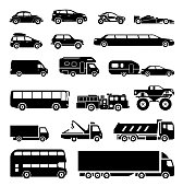 Collection of signs presenting different modes of transport on land. Modern means of transportation. Transportation icons.