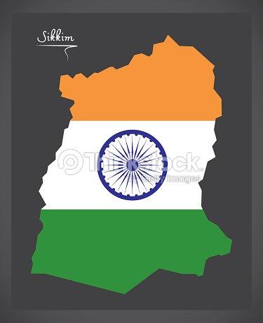 Carte Inde Sikkim.Carte De Sikkim Avec Illustration De Drapeau National Indien Clipart