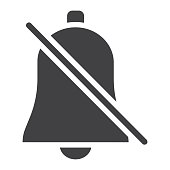 Silent Bell glyph icon, web and mobile, alarm off sign vector graphics, a solid pattern on a white background, eps 10.