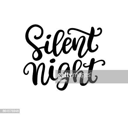 Silent Night phrase. Christmas ink lettering : Vector Art
