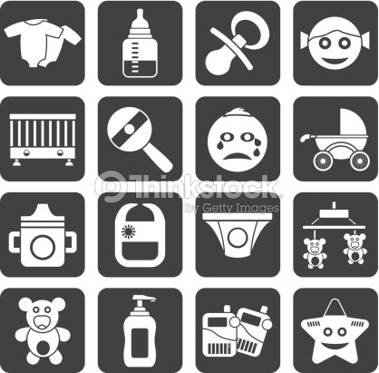 Silhouette Baby Children And Toys Icons Vector Art Thinkstock