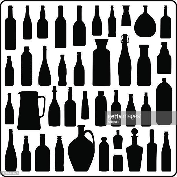 Silhouette bottles- Black and white