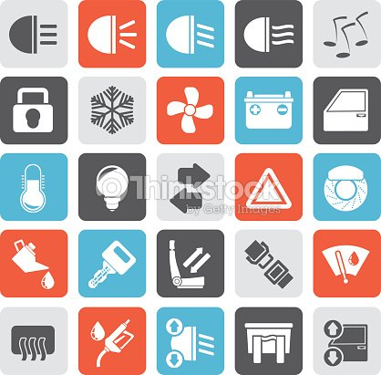 Silhouette Car Interface Sign And Icons Vector Art – Icons Fuse Box