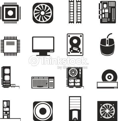 Silueta De Iconos De Computadoras Y Equipos arte vectorial