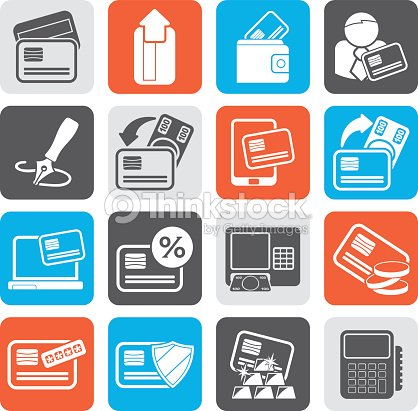 silhouette credit card pos terminal and atm icons vector art