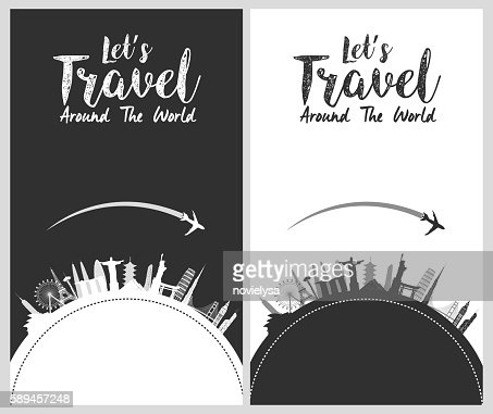 Silhouette design with famous world and landmarks icons : Vector Art