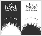 Illustration of Silhouette design with famous world and landmarks icons