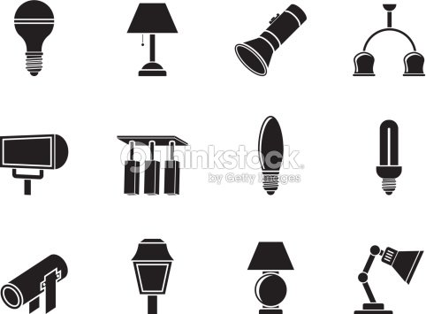 Silhouette Diffe Kind Of Lighting Equipment Vector Art