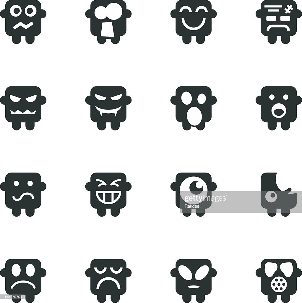 Silhouette Emoticons/Set 6 : Clipart vectoriel