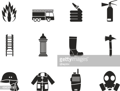 Silhouette Firebrigade And Fireman Equipment Icons Vector