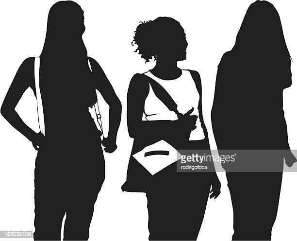 Silhouette Girls Talking