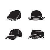 silhouette hat icon, black hat design, vector template design