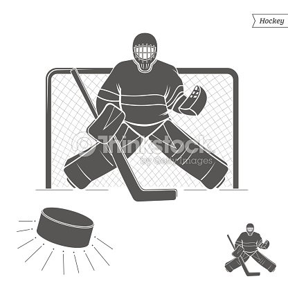 Silhouette Hockey Goalie Isolated On White Background Stock Vector