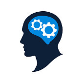 Silhouette human head with gears vector illustation. Strategic thinking and planning concept. Thinking brain icon.