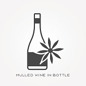 Silhouette icon mulled wine in bottle