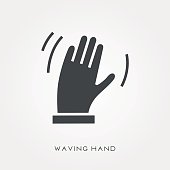 Silhouette icon waving hand