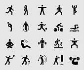Silhouette icons set for Exercise