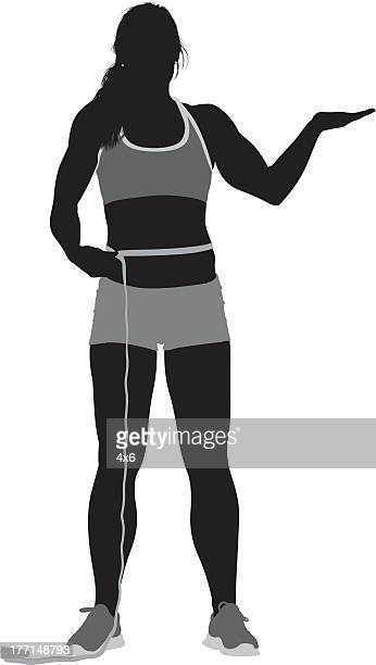 Silhouette image of a woman with measure tape
