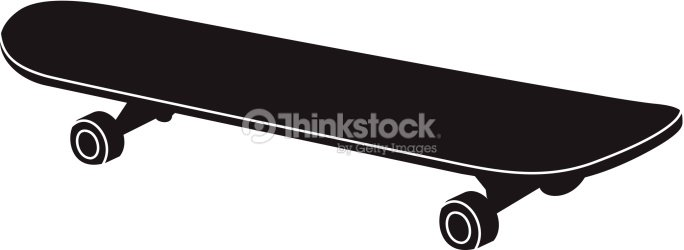 Silhouette In Black Of A Skateboard Vector Art | Thinkstock