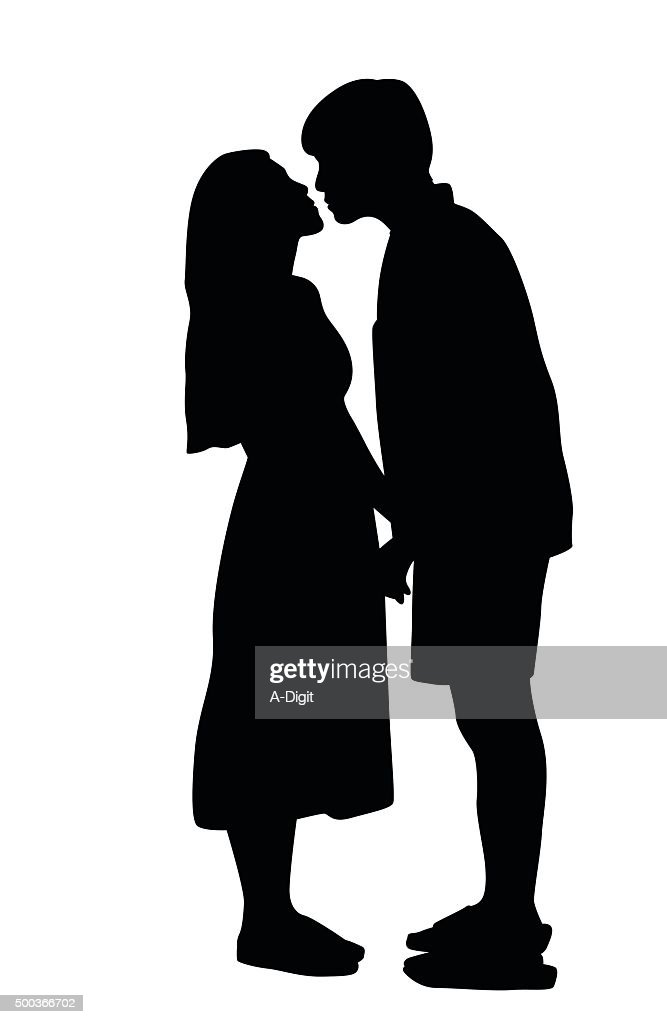 silhouette kissing pose vector art