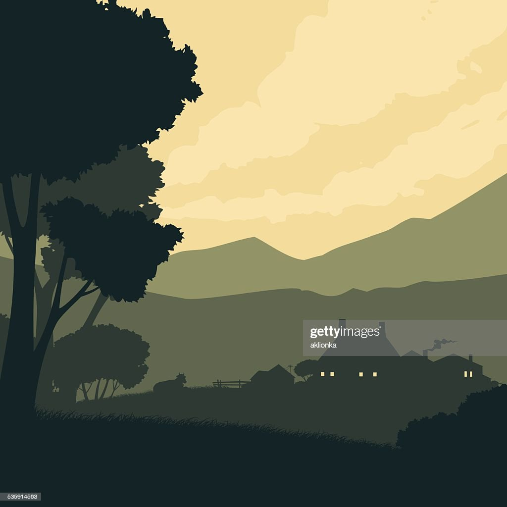 Silhouette landscape with a farm on a background of mountains : Vector Art