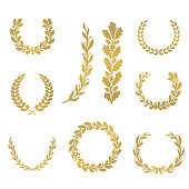 Silhouette laurel and oak wreaths in different  shapes - half circle, circle, branch