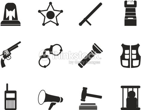 Silhouette Law Order Police And Crime Icons stock vector