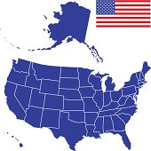 Silhouette map and flag of USA.