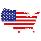 Silhouette map of the United States of America in the state the stars and stripes. Vector illustration.