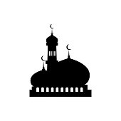 mosque design, black color isolated white background