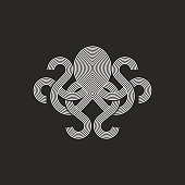 Silhouette octopus logo monogram, mockup seafood restaurant linear graphic emblem, print t-shirt intersection line style