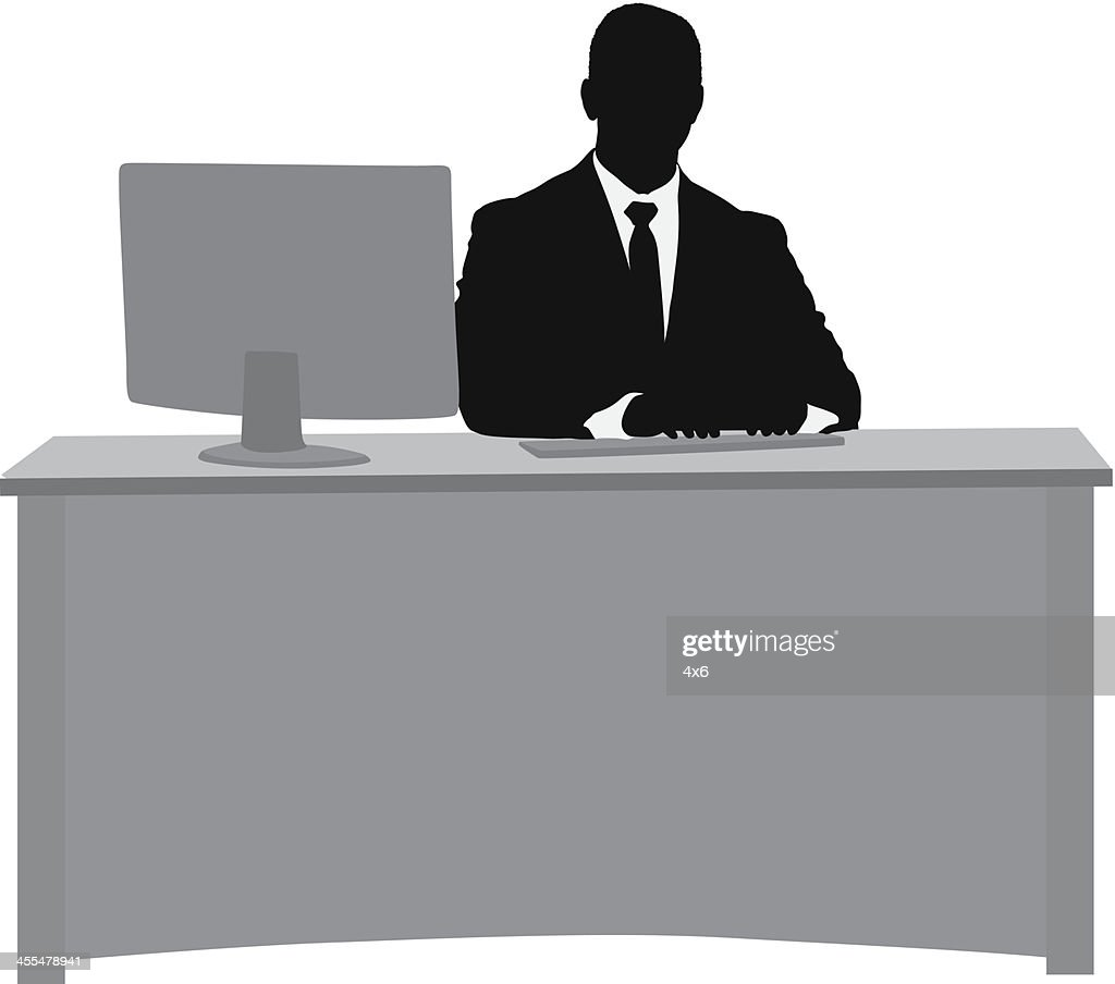 Silhouette Of A Businessman At His Desk Vector Art | Getty ...