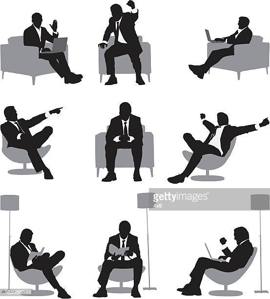 Silhouette of a businessman in different action