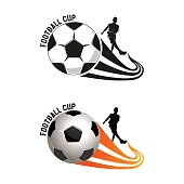 Silhouette of a football player who beats on a football. Vector illustration. Soccer logo on a white background.