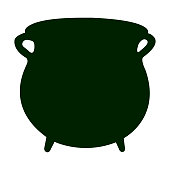 Silhouette of a golden coin pot, Vector illustration