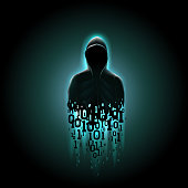 Silhouette of a hacker in a hood with binary code on a luminous blue background, hacking of a computer system, theft of data