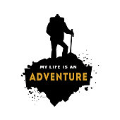 Silhouette of a hiker with an inscription - my life is an adventure.