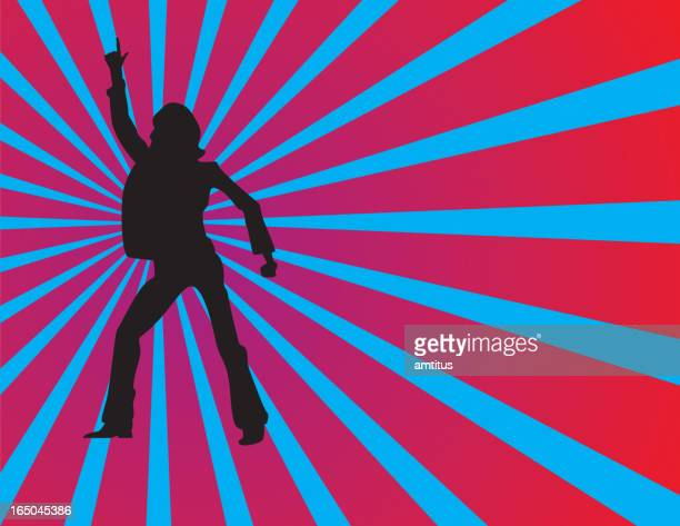 Silhouette of a man doing a disco dance