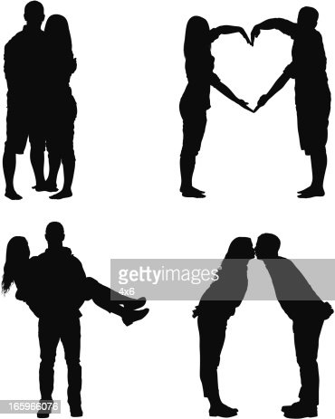 free vector dating couple silhouette