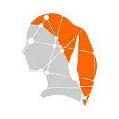 Profile of the head of a woman. Scientific medical design. Molecule and communication style design of the icon. Connected lines with dots.