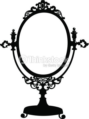 Silhouette Of Antique Makeup Mirror Stock Vector Thinkstock