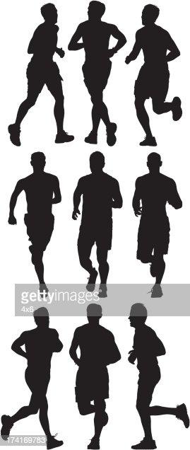 Silhouette of athlete running : Vector Art