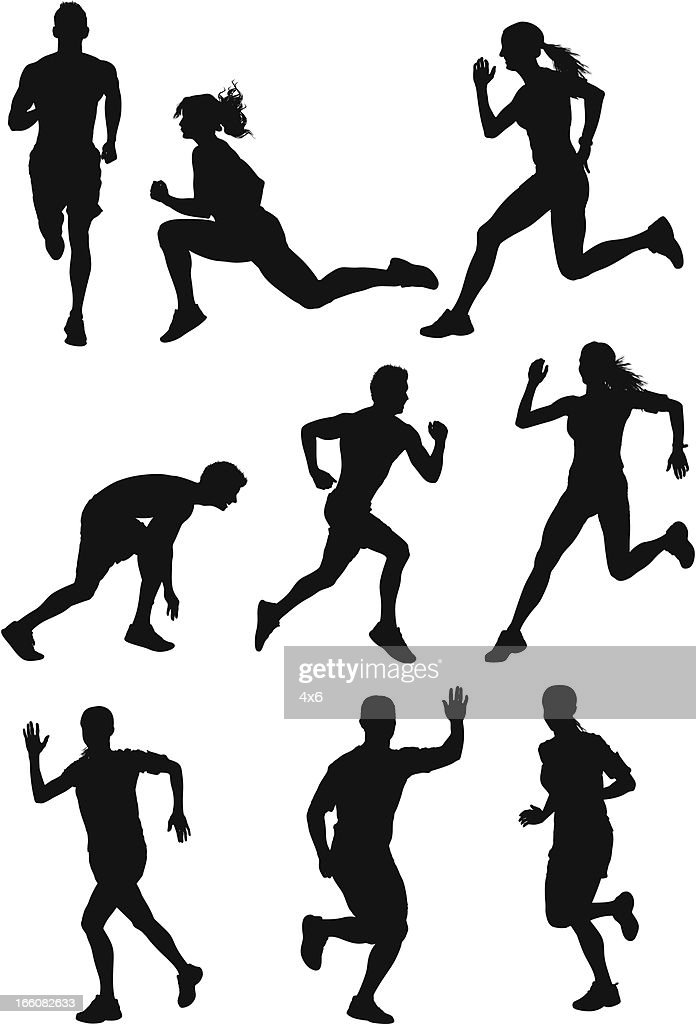 Silhouette of athletes running : Vector Art