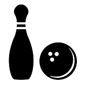 Vector Silhouette of black bowling pins and bowling ball isolated on a white background