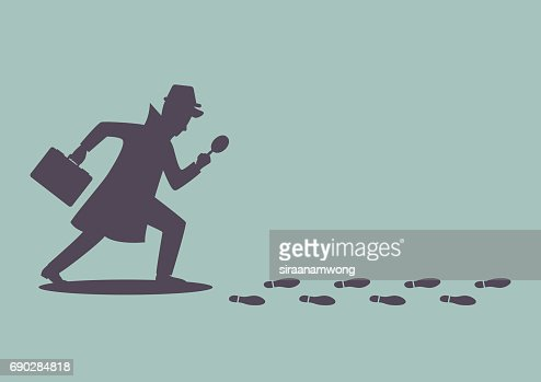 Silhouette of detective investigate is following footprints : stock vector