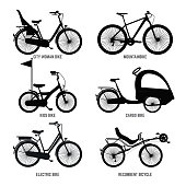 Silhouette of different bicycles for children, man and woman. Vector monochrome illustrations. Electric and cargo bike for people woman and man