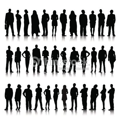 Silhouette Of Diverse Crowd Of Business People Vector Art ...