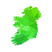 silhouette of Ireland on map in style design, Vector Illustration isolated on white background