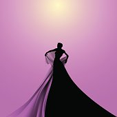 Silhouette of Opera Woman Singer. Vector Illustration.