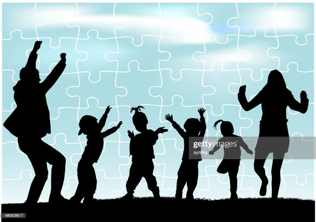 Silhouette of parents and children : Vector Art